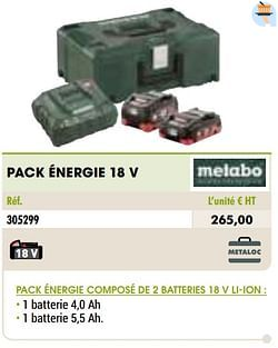 Metabo pack énergie 18 v