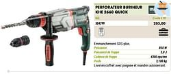 Metabo perforateur burineur khe 2660 quick