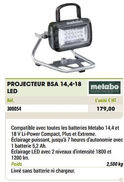 Metabo projecteur bsa 14,4-18 led