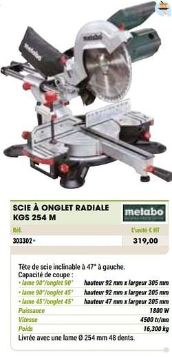 Metabo scie à onglet radiale kgs 254 m