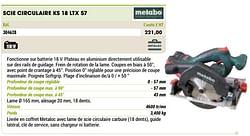 Metabo scie circulaire ks 18 ltx 57