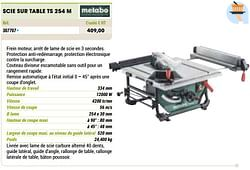 Metabo scie sur table ts 254 m
