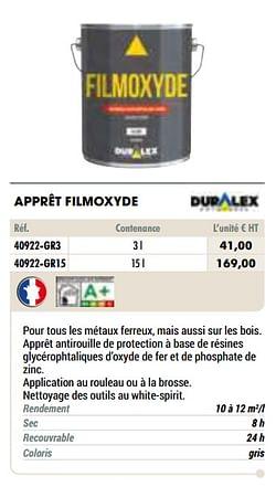 Apprêt filmoxyde
