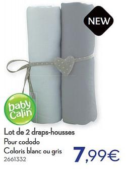 Lot de 2 draps-housses pour cododo coloris blanc ou gris