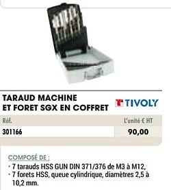 Taraud machine et foret sgx en coffret