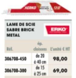 Lame de scie sabre brick metal