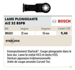 Bosch lame plongeante aiz 32 bspb
