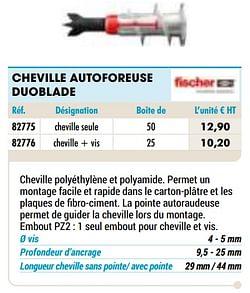 Cheville autoforeuse duoblade