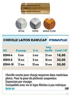 Cheville laiton rawlcap