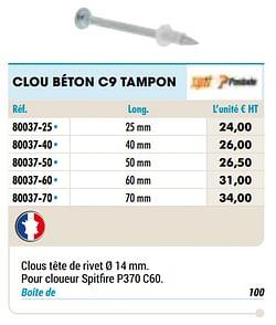 Clou béton c9 tampon
