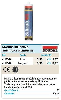 Mastic silicone sanitaire silirub ns blanc