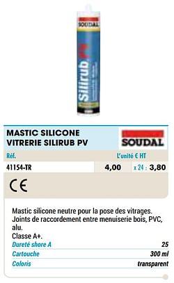 Mastic silicone vitrerie silirub pv
