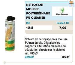 Nettoyant mousse polyuréthane pu cleaner