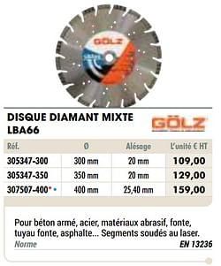 Disque diamant mixte lba66