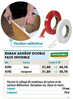 Ruban adhésif double face invisible