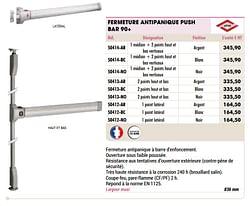 Fermeture antipanique push bar 90+