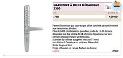 Garniture à code mécanique 3300