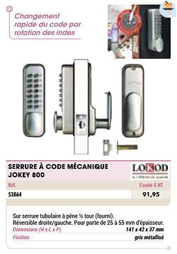 Serrure à code mécanique jokey 800