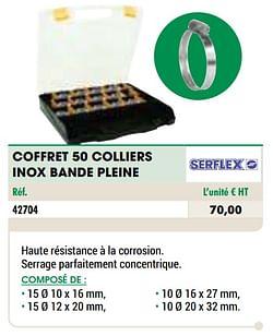 Coffret 50 colliers inox bande pleine