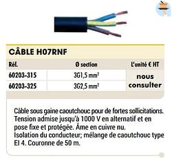 Câble h07rnf