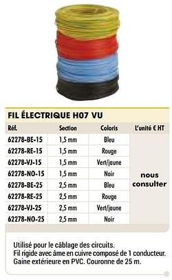 Fil électrique h07 vu bleu