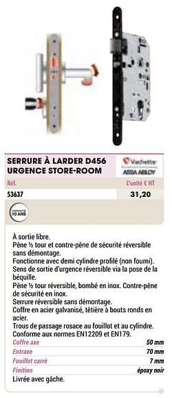 Serrure à larder d456 urgence store-room