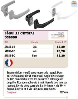 Béquille crystal ds8000