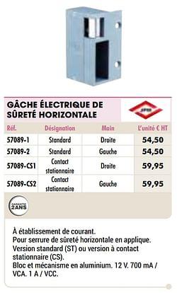 Gâche électrique de sûreté horizontale