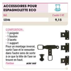 Accessoires pour espagnolette eco