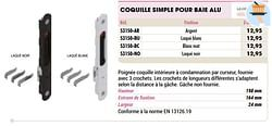 Coquille simple pour baie alu