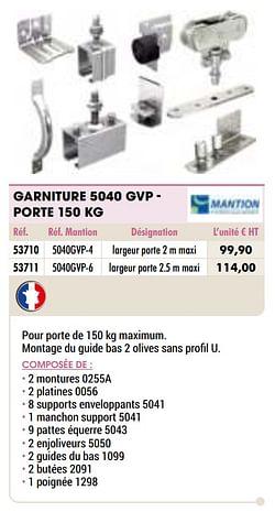 Garniture 5040 gvp - porte 150 kg