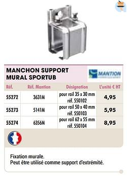 Manchon support mural sportub