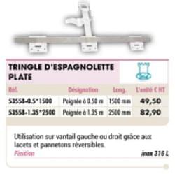 Tringle d`espagnolette plate