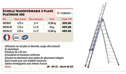 Échelle transformable 3 plans platinium 300