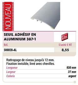 Seuil adhésif en aluminium 387-1