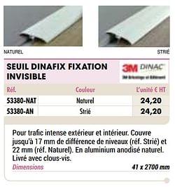 Seuil dinafix fixation invisible naturel