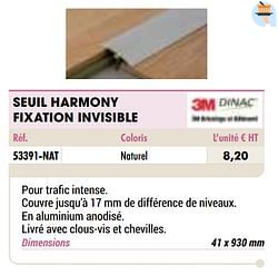 Seuil harmony fixation invisible