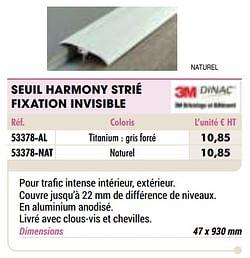 Seuil harmony strié fixation invisible titanium : gris forcé