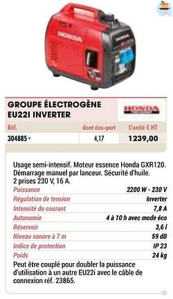 Honda groupe électrogène eu22i inverter