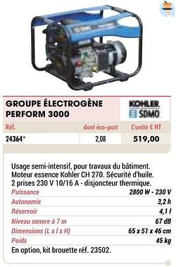 Kohler groupe électrogène perform 3000