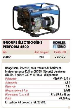 Kohler groupe électrogène perform 4500
