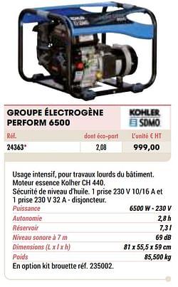 Kohler groupe électrogène perform 6500