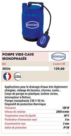 Pompe vide-cave monophasée