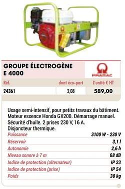 Pramac groupe électrogène e 4000