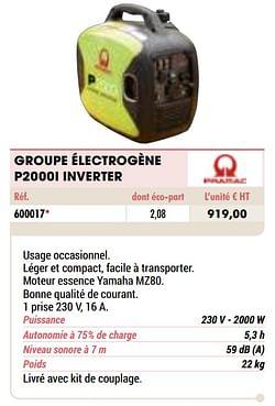 Pramac groupe électrogène p2000i inverter