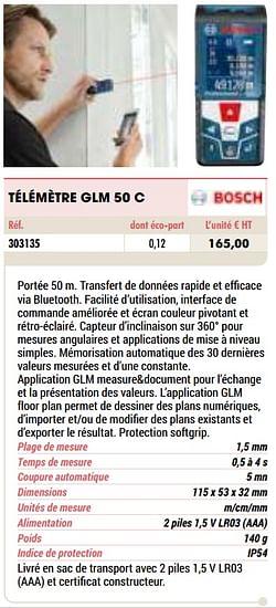 Bosch télémètre glm 50 c