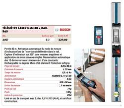 Bosch télémètre laser glm 80 + rail