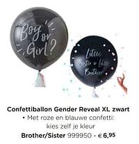 Confettiballon gender reveal xl zwart brother-sister-Huismerk - Dreambaby