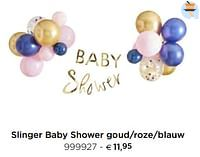 Slinger baby shower goud-roze-blauw-Huismerk - Dreambaby
