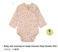 Body met overslag en lange mouwen dots powder pink-Lassig